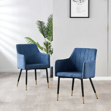 2x Blue Arm Chair Black Metal Legs+brass Footing Home Commercial place