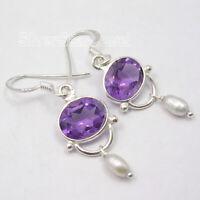 """Natural Purple Oval Amethyst Earrings 1.5"""" Solid Sterling Silver Women Art"""