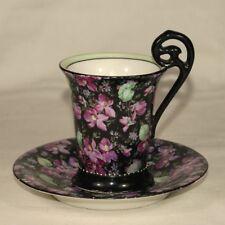 Biedermeier Porzellan Tasse - wohl Thüringen um 1850 Blumendekor Veilchen Viola