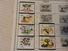 Set of 6 Disney Stamps 1984 Los Angeles Olympics from Grenada, MNH