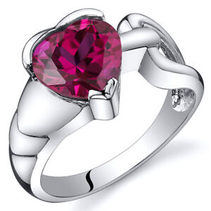 Love Knot Style 2.50 cts Ruby Ring Sterling Silver Sizes 5 to 9
