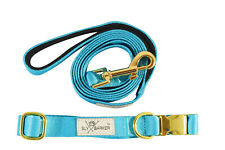 Blue Teal Stylish Pet Dog Cat Collar And Leash Set Polyester Gold Hardware