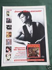 JOHN MELLENCAMP - MAGAZINE CLIPPING / CUTTING- 1 PAGE ADVERT