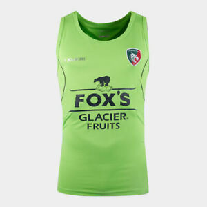 Leicester Tigers Rugby Vest Kukri Mens 2019-20 Technical Shirt - Green - New
