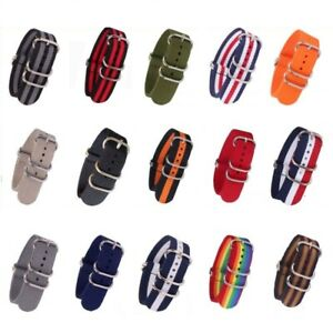 Nylon Watch Black Strap watchband Woven Military Watch Band Rings Buckle 18-24mm