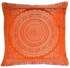 Orange Mandala Cushion Covers Gold Banarasi Indian 38cm Indian