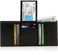 Genuine Leather Wallets For Men Trifold Wallet With Flip-Up ID RFID Blocking