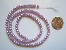 Hilo perlas cristal nacarado 4 mm X 110 UNIDADES lila claro abalorios