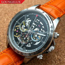 Mens Automatic Mechanical Watch Date Day Watch Silver Black Orange Leather