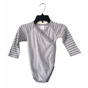 Hanna Andersson Gray White Striped Crossover Top Baby 2T Long Sleeve