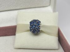 New w/Box Pandora Chisselled Elegance Blue Crystal Charm 797746NSBL Chiseled