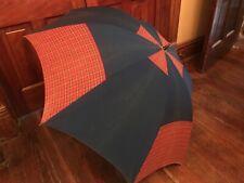 Vintage Plaid Blue Red Umbrella Parasol Wood Handle Cotton 50�