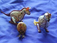 Old Vtg Tin Wind Up Toys Kangaroo Yellow Chicken Set of Three