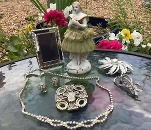 Vintage Jewellery ~ Marcasite Brooch Earrings - Sarah Coventry - Old Figurine