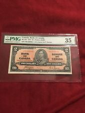 Canada 2 Notes One Dollar 1937 BC-22c PMG Graded 35