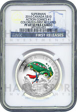 2014 CANADA $10 SUPERMAN SILVER 1/2 OZ. - NGC PF69 FIRST RELEASES -ONLY 28 EXIST