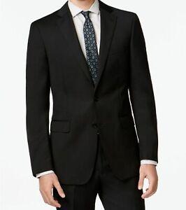 $499 Calvin Klein 38S Men's Black Slim X Fit Wool Solid Jacket Suit Coat Blazer