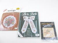 Lot OF 3 CROSS STITCH / RIBBON EMBROIDERY KITS Floral Baskets & WELCOME BOW TIE
