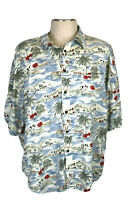 Big Dogs Men's 3XL, Multicolored Hawaiian Shirt, Beach, Huts, Red Floral, Boats