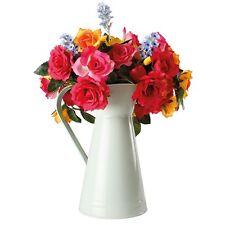 Artificial Faux Rose Bouquet Flower Arrangmement In Vintage Metal Jug Vase Pot