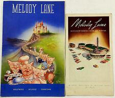 1947 Vintage Menu Lot MELODY LANE Restaurant Los Angeles Hollywood CA Pig Art