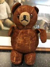 Antique Old Brown Teddy Bear with Tag 9.5 inch Shoe Button Eyes Possibly Farnell
