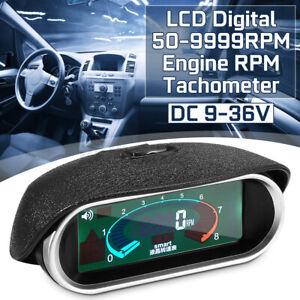 Car Universal LCD 50-9999RPM Tachometer Digital Engine Tach Gauge Boat Auto