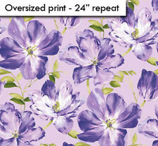 Northcott Splendor Purple Lavender Violet Green Floral Big Rose Quilt Fabric 8B