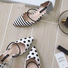 Women Sandals Pointed Toe Stripe Polka Dot Pumps Slipper Comfortable Slipon Shoe