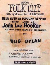 BOB DYLAN REPRO 1961 NEW YORK GERDES FOLK CITY 23 APR CONCERT POSTER .NOT CD DVD