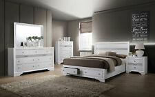 NEW Modern White Finish Bedroom Furniture - 5pcs Set w/ Queen Storage Bed IDA8