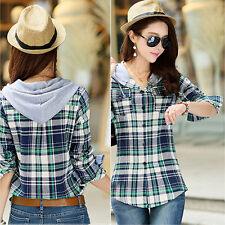 Women's Cotton Hooded Shirt Casual Plaid Long-sleeved Sweatshirt Top Deluxe