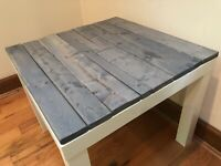 "Rustic End Side Table Reclaimed Gray Barn Wood Look 22"" x 22"" Wood HANDMADE"