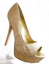 Carlos by Carlos Santana Sexy Peep Toe Platform Pumps  Women's Size 7 Gold Shoes