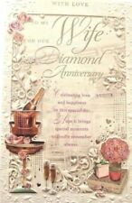 Champagne Roses 60th Diamond Wedding Anniversary Card ~ Wife FREE 1ST CLASS POST