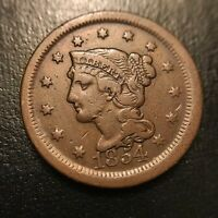 1854 Coronet Large Cent Choice XF Extremely Fine Braided Hair 1c