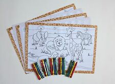 SET OF 5 ZOO PLACEMATS AND CRAYONS