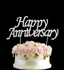 Diamante Rhinestone Gem Cake Pick Topper Happy Anniversary Silver Numbers UK