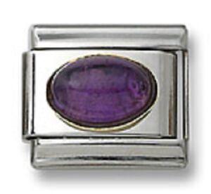18k Italian Charm Purple Amethyst Stone Oval 9 mm Stainless Steel Link Bracelet