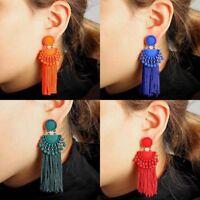 1 Pair Fashion Women's Red/Green Fan-Shape Tassels Dangle Stud Earrings Gift