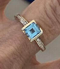 9ct Gold Aqua Marine/Blue Topaz And Diamond Ring Size N1/2