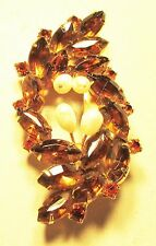 Vintage 50's Chunky Glass Crystal Rhinestone Plastic Pearl Bead Pin Brooch
