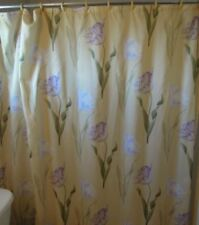 Yellow shower curtain with lavender and purple parrot tulips