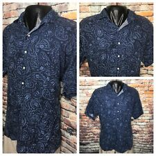 37fd6f50b Polo Ralph Lauren Denim Blue Paisley 1 2 Button Shirt Size Large Cambridge  Linen