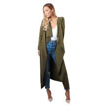 Womens Ladies Maxi Midi Long Sleeved Belted Waterfall Duster Jacket Coat 8-22