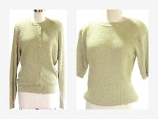 Vintage Evan- Picone Gold Metallic Twin Sweater Set Sz M Holiday Evening Sweater