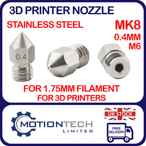 3D Printer MK8 Extruder Stainless Steel Nozzles 0.4mm M6 Thread - 1.75mm