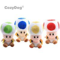 "7"" Super Mario Bros Mushroom Toad Plush 4 Color Toad Stuffed Doll Xmas Toy"