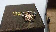 Welsh Clogau Silver & Rose Gold Lady Snowdon Diamond Ring Size J RRP £109
