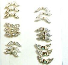 18 Guardian Angel Fairy Wings Charm Spacer Beads 6 Styles Bright Silver Plated